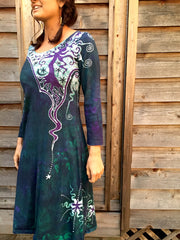 Teal and Purple Canyon Tree - Long Sleeve Batik Dress - Size Medium - Batikwalla   - 1