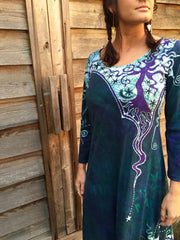 Teal and Purple Canyon Tree - Long Sleeve Batik Dress - Size Medium - Batikwalla   - 2