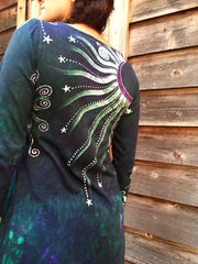 Teal and Purple Canyon Tree - Long Sleeve Batik Dress - Size Medium - Batikwalla   - 6
