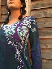 Teal and Purple Canyon Tree - Long Sleeve Batik Dress - Size Medium - Batikwalla   - 4