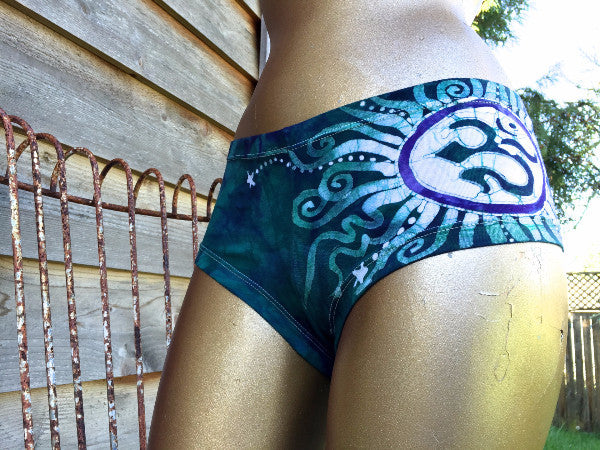 Teal and Purple Om Batik Boyshort Undies - Batikwalla   - 1