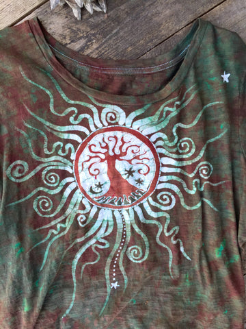 Tree of Life Handmade Batik Summer Tee - Size 2X