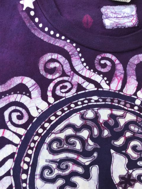 Tree of Life in The Brightest Magenta - Handmade Batik Tshirt - Size XL