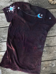 Rust and Turquoise Moon and Stars Hand Painted Tee - Size Medium ONLY