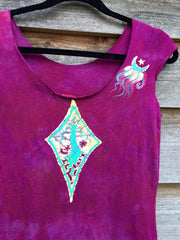 Heart Chakra Diamond Tree Batik Summer Top - Small - Batikwalla   - 2