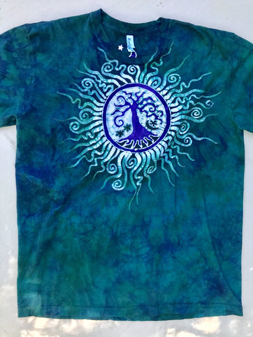 Teal and Purple Tree Handmade Batikwalla Tshirt - Size 2X