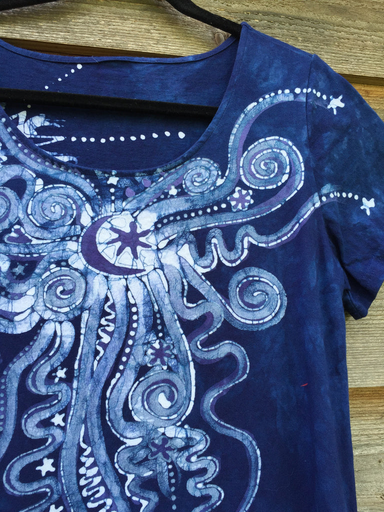 Periwinkle Moon Burst - Short Sleeve Batik Dress - Batikwalla   - 1