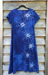Periwinkle Moon Burst - Short Sleeve Batik Dress - Batikwalla   - 3