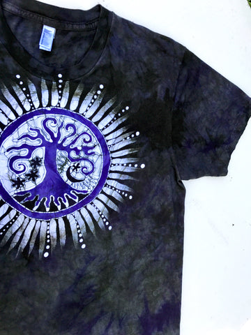 Purple And Sage Tree Handmade Batikwalla Tshirt - Size Large