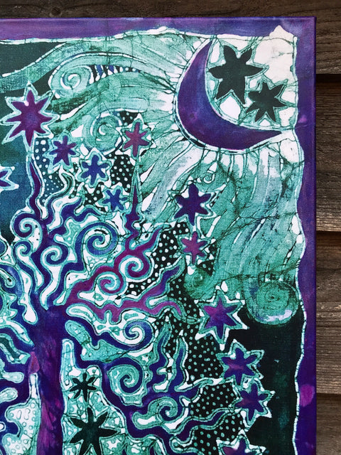 Teal Tree Canvas Giclée Batik Print - With Happy Purple Highlights
