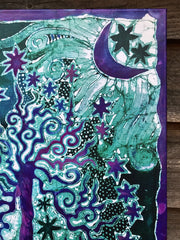Teal Tree Canvas Giclée Batik Print - With Purple Iridescent Highlights