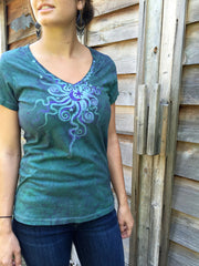 Light Teal Moon Star Handmade Batik Vneck Tee - Batikwalla   - 3