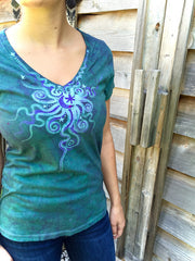 Light Teal Moon Star Handmade Batik Vneck Tee - Batikwalla   - 1
