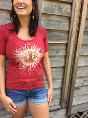 Campfire Red Tree of Life Sun Yoga Tee - Batik Print - Batikwalla   - 2