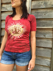 Campfire Red Tree of Life Sun Yoga Tee - Batik Print - Batikwalla   - 3
