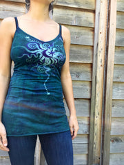 Teal and Purple Moon Star Batik Long Cotton Camisole - Batikwalla   - 3