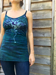 Teal and Purple Moon Star Batik Long Cotton Camisole - Batikwalla   - 2