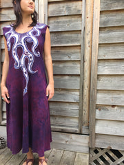 Octopus Tattoo in Deep Maroon Organic Cotton Batik Dress - Batikwalla   - 1