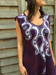 Octopus Tattoo in Deep Maroon Organic Cotton Batik Dress - Batikwalla   - 3