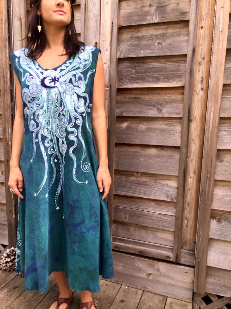 Teal and Purple Festival Moonbeams Organic Cotton Batik Dress - Batikwalla   - 1