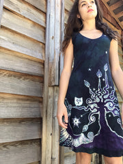 Teal and Purple Owls in The Forest Batikwalla Dress in Organic Cotton