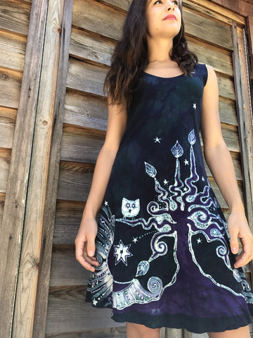 Teal and Purple Owls in The Forest Batikwalla Dress in Organic Cotton - Size Small