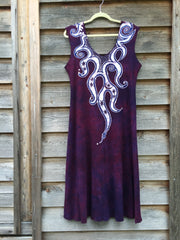 Octopus Tattoo in Deep Maroon Organic Cotton Batik Dress - Batikwalla   - 7