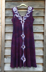 Octopus Tattoo in Deep Maroon Organic Cotton Batik Dress - Batikwalla   - 8