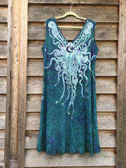 Teal and Purple Festival Moonbeams Organic Cotton Batik Dress - Batikwalla   - 5