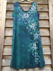 Teal and Purple Festival Moonbeams Organic Cotton Batik Dress - Batikwalla   - 6