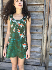 Fuchsias Are Surprising Batikwalla Mini Dress in Organic Cotton - Size Small
