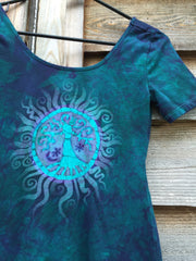 Teal Tree of Life Stretchy Long Tunic Tee - Size Medium ONLY