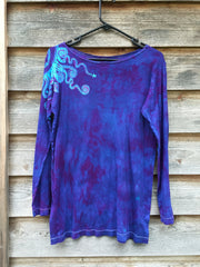 Purple and Turquoise Shoulder Star Long Sleeve Batik Top - Batikwalla   - 3