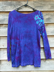 Purple and Turquoise Shoulder Star Long Sleeve Batik Top - Batikwalla   - 2