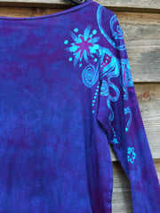Purple and Turquoise Shoulder Star Long Sleeve Batik Top - Batikwalla   - 1
