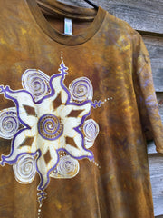 Golden Sun Star Mandala Handmade Batik Men's Tshirt - Size Medium - Batikwalla   - 3