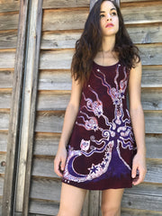 Owls Are Surprising Batikwalla Mini Dress in Organic Cotton - Size Small