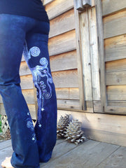 Internal Flames Batik Yoga Pants in Navy Blue and Purple - Batikwalla   - 2