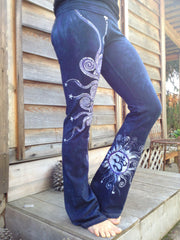 Internal Flames Batik Yoga Pants in Navy Blue and Purple - Batikwalla   - 1