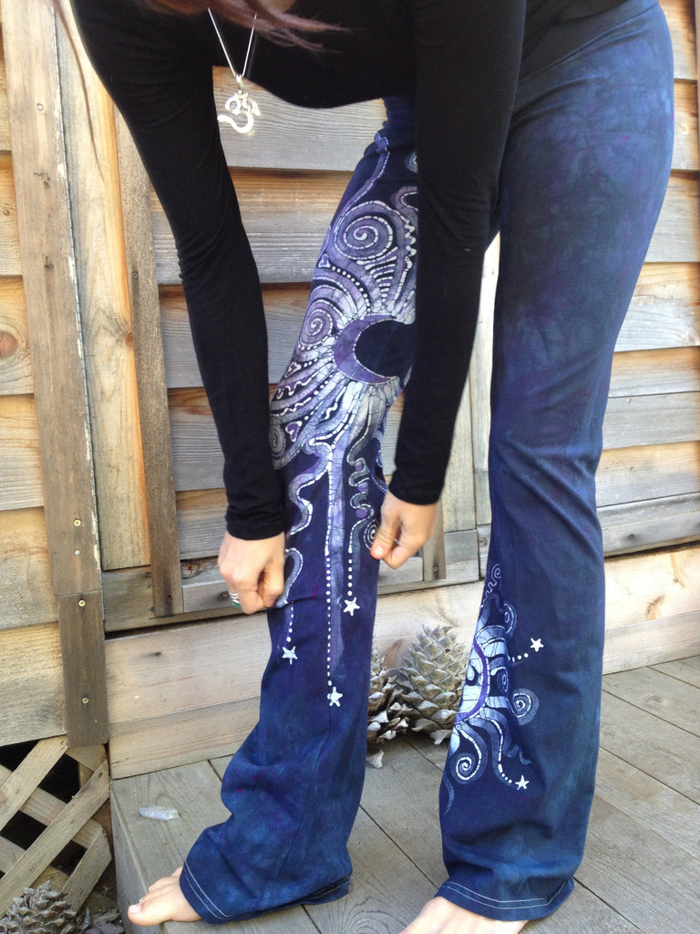 Internal Flames Batik Yoga Pants in Navy Blue and Purple - Batikwalla   - 4