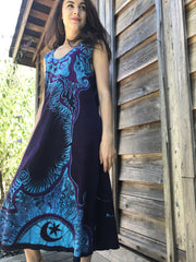 Trees Are Dancing With The Night Sky Batikwalla Dress in Organic Cotton - Size Large