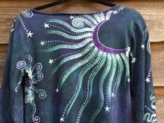 Teal and Purple Canyon Tree - Long Sleeve Batik Dress - Size Medium - Batikwalla   - 9