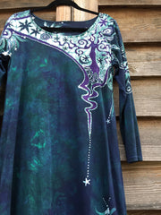 Teal and Purple Canyon Tree - Long Sleeve Batik Dress - Size Medium - Batikwalla   - 7