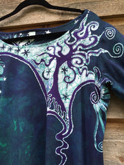 Teal and Purple Canyon Tree - Long Sleeve Batik Dress - Size Medium - Batikwalla   - 8