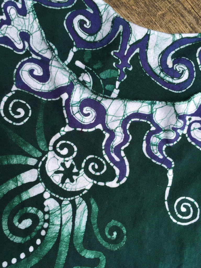 Teal and Purple Batik Moon Reversible Necklace Tee - Batikwalla   - 1