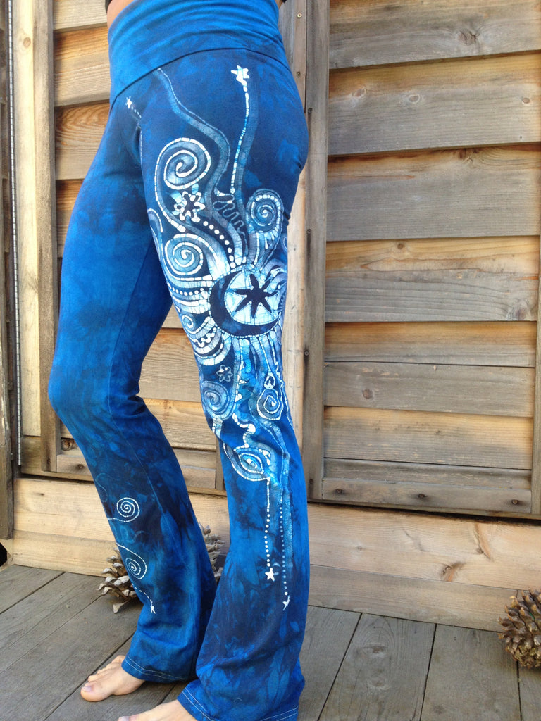 Blue on Blue Batik Yoga Pants - Size Medium