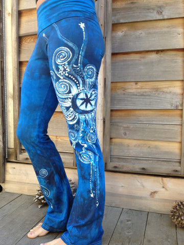 Blue on Blue Batik Yoga Pants - Size Small