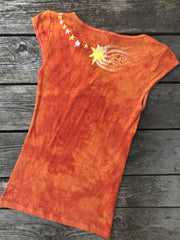 Orange Sherbert Ride Through Space Handmade Batik Summer Tee