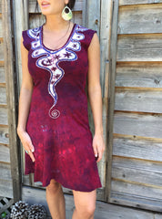 Angel Wings in Red & Purple Organic Cotton Batik Dress - Size Small - Batikwalla   - 2