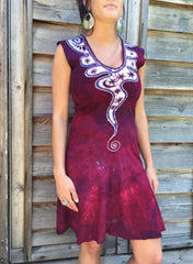 Angel Wings in Red & Purple Organic Cotton Batik Dress - Size Small - Batikwalla   - 3